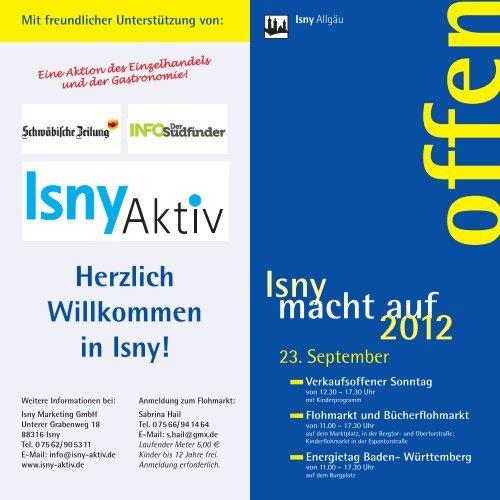 """Herzlich Willkommen zu """"Isny macht  auf"""" - in Isny im Allgäu"""