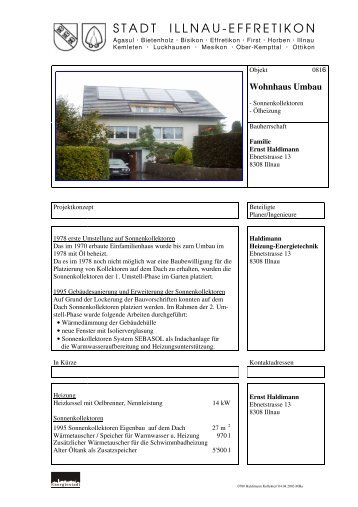 Wohnhaus Umbau - Stadt Illnau-Effretikon