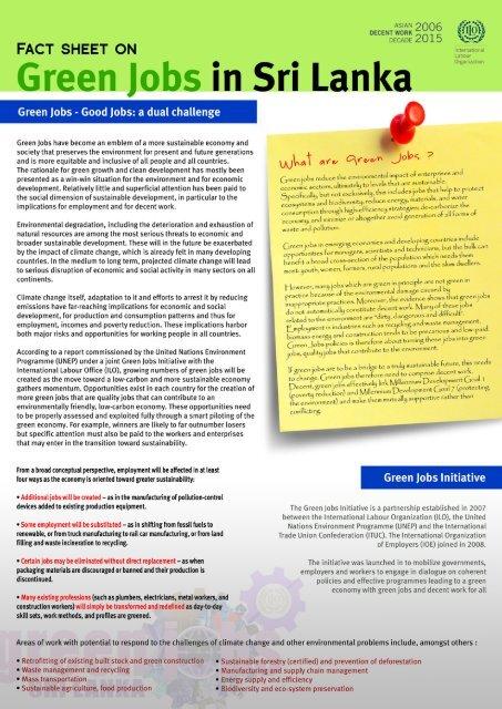 Green jobs in - International Labour Organization