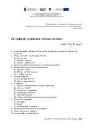 Zarządzanie projektami wybrane elementy -materiały do zajęć