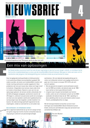 Nieuwsbrief Maart 2013 - Installatiewerk Nederland