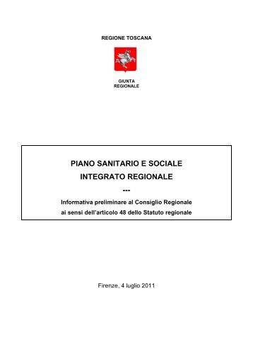PIANO SANITARIO E SOCIALE INTEGRATO REGIONALE ---