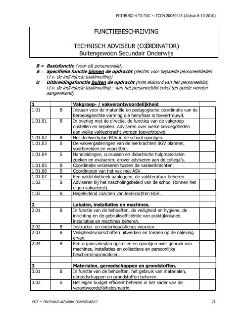 FUNCTIEBESCHRIJVING TECHNISCH ADVISEUR (COÖRDINATOR)