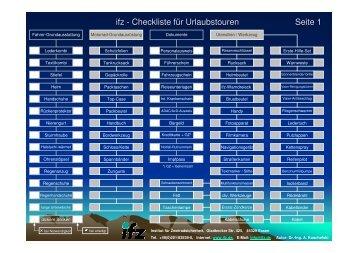 Urlaubscheckliste kompakt - farbig - IfZ