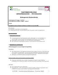 FUNCTIEBESCHRIJVING ORTHOPEDAGOOG - PSYCHOLOOG