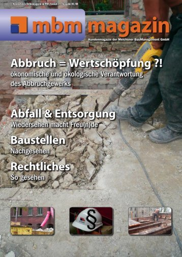 Abbruch = Wertschöpfung ?! Abfall & Entsorgung Baustellen Rechtliches