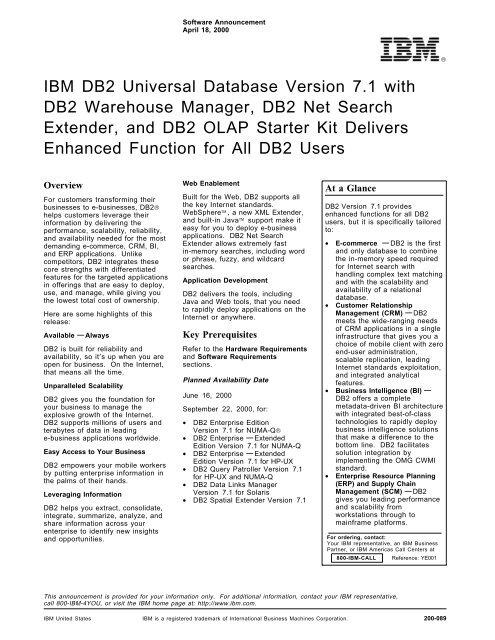IBM DB2 Universal Database Version 7 1 with DB2 Warehouse