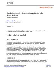 Use Eclipse to develop mobile applications for Nokia devices - IBM