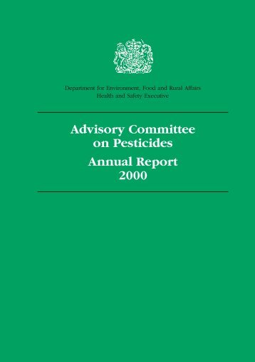 Advisory Committee on Pesticides Annual Report 2000