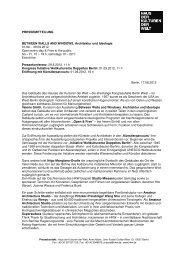 Pressemitteilung Between Walls and Windows. Architektur und ...