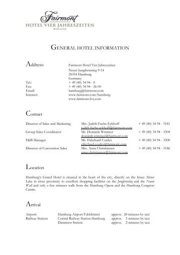 GENERAL HOTEL INFORMATION Address: Contact Location Arrival