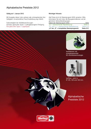 Helios Alphabetische Preisliste 2012
