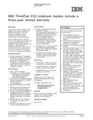 IBM ThinkPad X32 notebook models include a three-year limited ...
