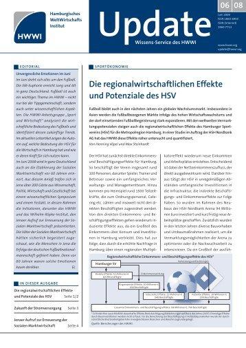 Die regionalwirtschaftlichen Effekte und Potenziale des HSV - HWWI