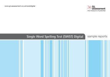Single Word Spelling Test (SWST) Digital