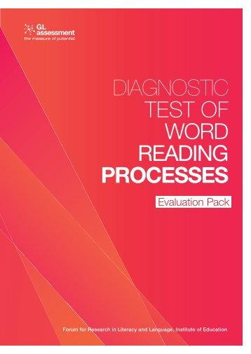 DIAGNOSTIC TEST OF WORD READING PROCESSES