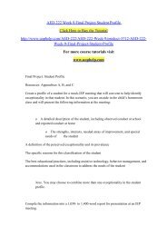 AED 222 Week 9 Final Project Student Profile/uophelp