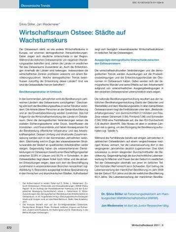 Wirtschaftsraum Ostsee: Städte auf Wachstumskurs - HWWI