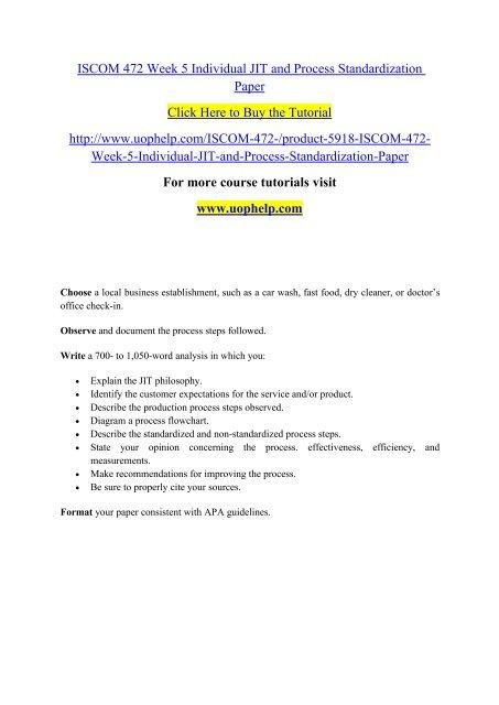ISCOM 472 Week 5 Individual JIT and Process Standardization