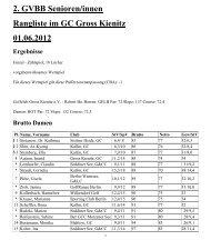 2. GVBB Senioren/innen Rangliste im GC Gross Kienitz 01.06.2012