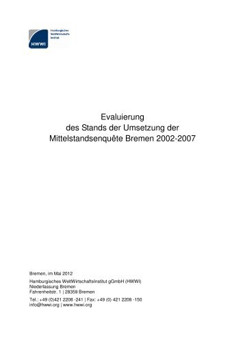 Evaluierung des Stands der Umsetzung der ... - HWWI