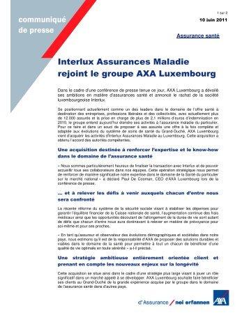1 Sur 2 Communiqué De Presse - AXA Assurances Luxembourg