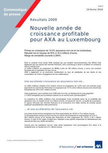 Nouvelle année de croissance profitable pour AXA au Luxembourg
