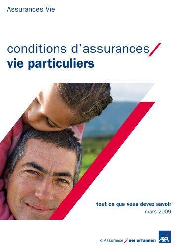 conditions d'assurances vie particuliers