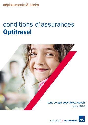 conditions d'assurances Optitravel