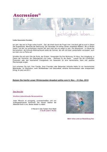 Nutzen Sie hierfür unser Winterzauber-Angebot gültig vom 9 Nov - 31.Dez 2010