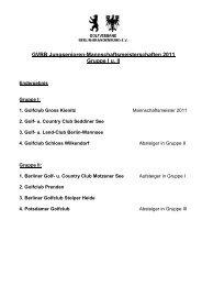 GVBB Jungsenioren-Mannschaftsmeisterschaften 2011 Gruppe I u. II