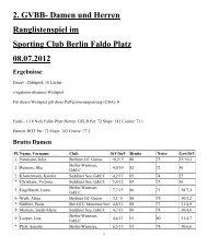 2. GVBB Damen und Herren Ranglistenspiel