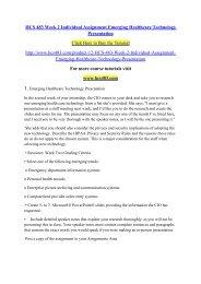 HCS 483 Week 2 Individual Assignment Emerging Healthcare Technology Presentation- hcs483dotcom