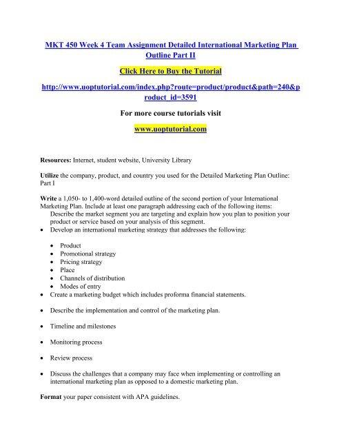 MKT 450 Week 4 Team Assignment Detailed International