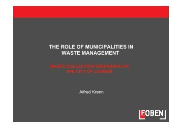 THE ROLE OF MUNICIPALITIES IN WASTE MANAGEMENT