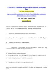 HIS 301 Week 3 Individual Assignment Bill of Rights and Amendments Paper- his301dotcom