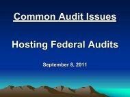 Common Audit Issues Hosting Federal Audits