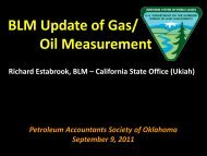 BLM Update of Gas/ Oil Measurement