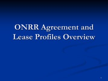 ONRR Agreement and Lease Profiles Overview