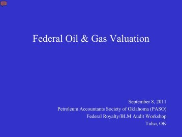 Federal Oil & Gas Valuation