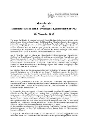 November 2005 - Staatsbibliothek zu Berlin