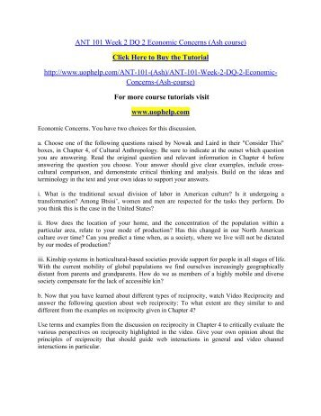 ANT 101 Week 2 DQ 2 Economic Concerns (Ash course)/uophelp