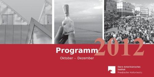 Current program of events October - December 2012