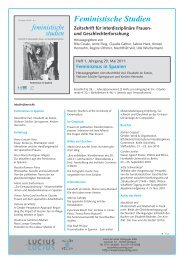 Feministische Studien Zeitschrift für interdisziplinäre Frauen