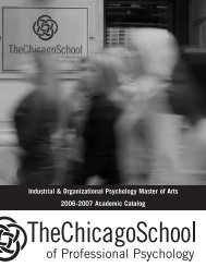 Industrial & Organizational Psychology Master of Arts 2006-2007 Academic Catalog