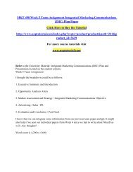 MKT 498 Week 5 Team Assignment Integrated Marketing Communications (IMC) Plan Paper/Uoptutorial
