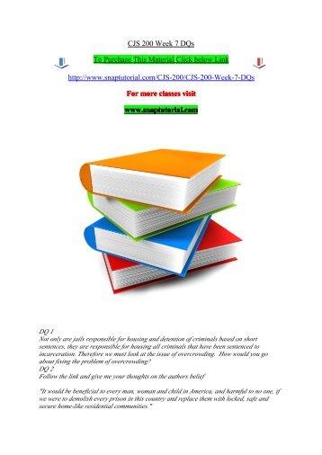 CJS 200 Week 7 DQs /Sanptutorial
