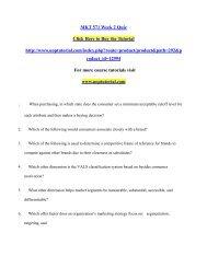 MKT 571 Week 2 Quiz/Uoptutorial