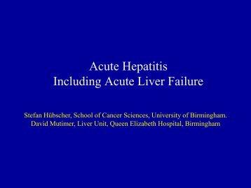 Acute Hepatitis Including Acute Liver Failure