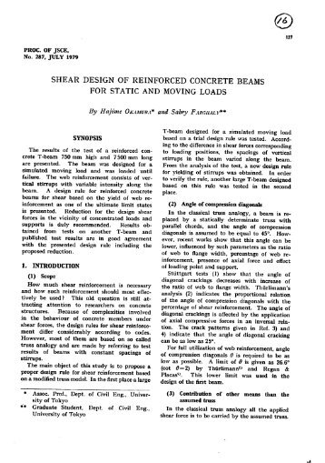 Shear Design of Reinforced Concrete Beams for Static and Moving ...